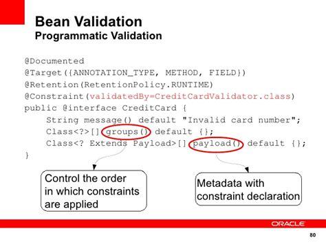 bean validation pattern list java e