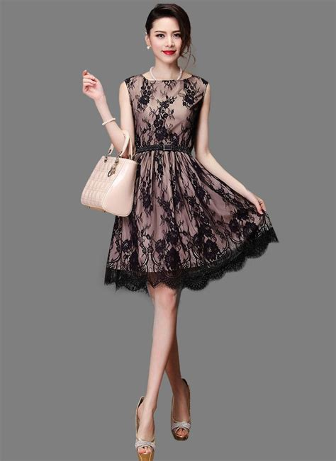 Premium Mini Dress Import Original Gradient Two Colour blace lace fit and flare mini dress with lining scalloped hem an robeplus