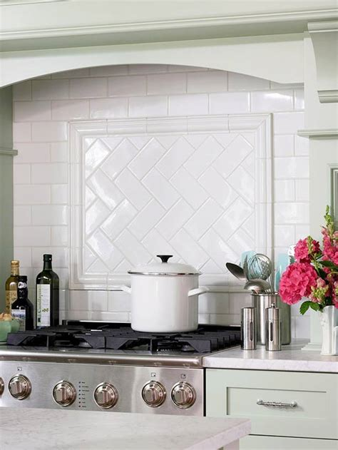 subway tile backsplash photos subway tile herringbone pattern cottage kitchen bhg