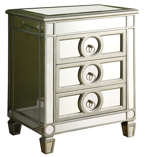accent table with drawer 3701 brushed silver mirrored 3 drawer accent table from