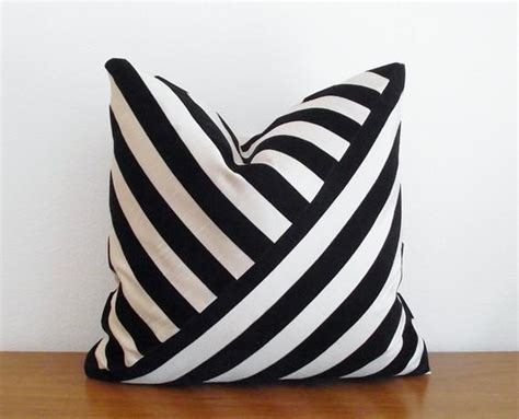 black and white striped pillow decorative pillow cover velvet stripe black by