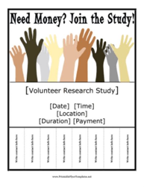research study flyer template new printable flyers