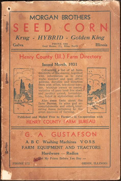 Henry County Il Search Henry County Illinois Farm Directory 1931 Book