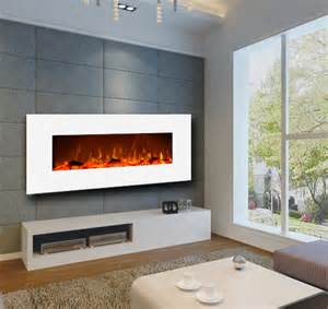 Ivory wall mount electric fireplace