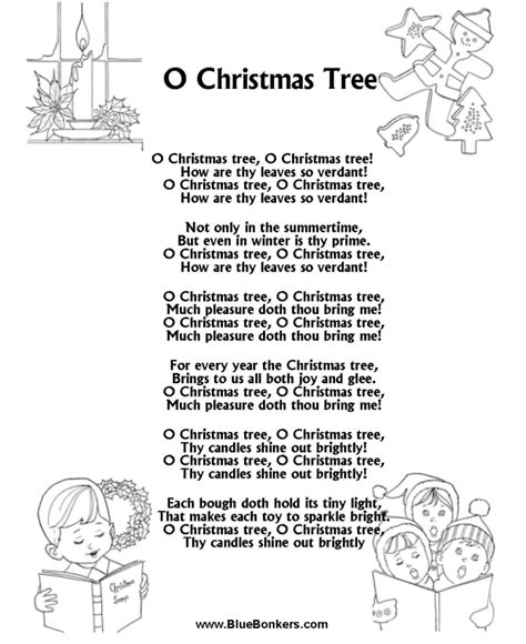 christmas tree songs for kids bluebonkers o tree free printable carol lyrics sheets favorite