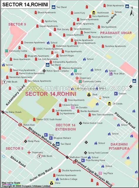 Sector 14 Rohini Map