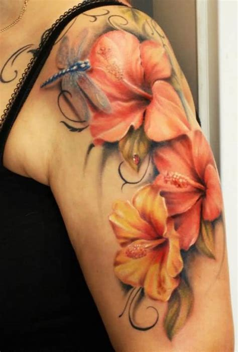 beautiful blue flower and nice dragonfly tattoo golfian com