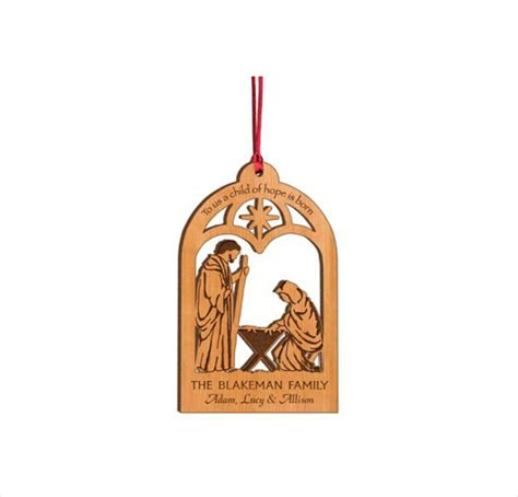 personalized wood christmas ornament to us a child of hope