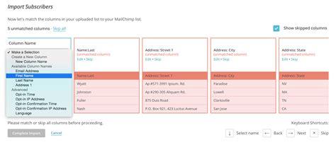 Using Mailchimp Knack Mailchimp Csv Template