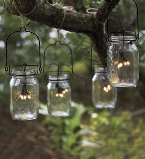 Solar String Lights Patio Glass Jar Solar String Lights Eclectic Outdoor Rope And String Lights By Plow Hearth