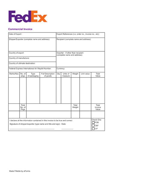 printable commercial invoice fedex free fedex commercial invoice template pdf eforms
