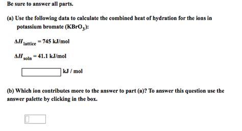 delta h hydration chemistry archive january 17 2013 chegg