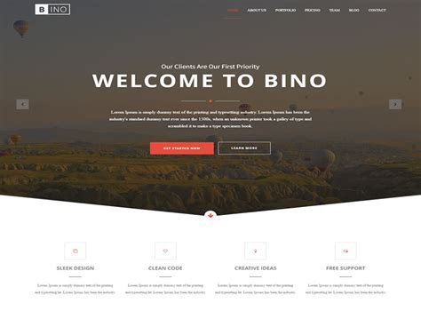 jquery landing page templates bino free html5 landing page template readytheme