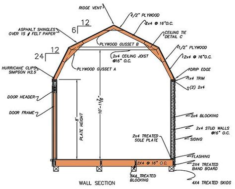gambrel roof barn plans 12 215 16 gambrel shed plans blueprints for barn style shed