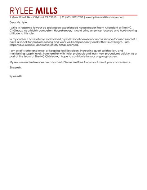 brilliant ideas of leading professional room attendant cover letter