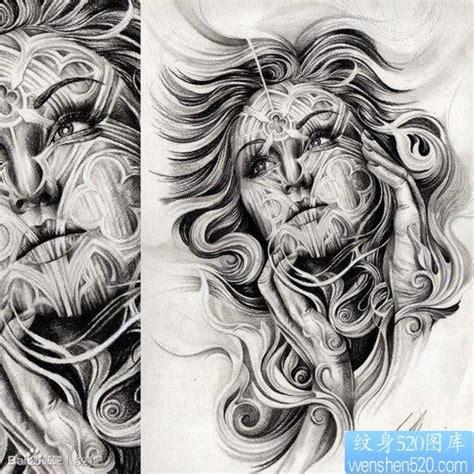 一张漂亮超帅的欧美美女纹身手稿