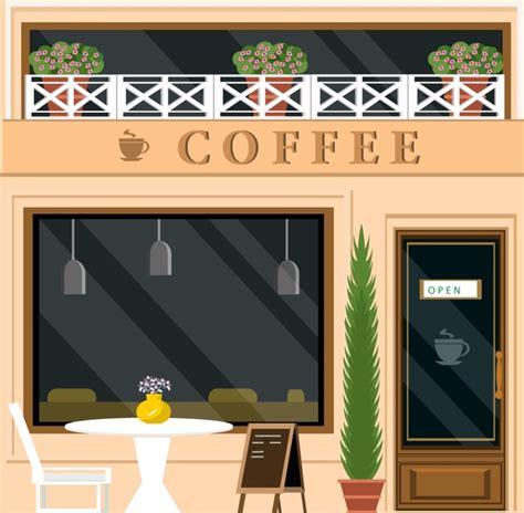 coffee shop design and color coffee shop facade design in color style free vector in