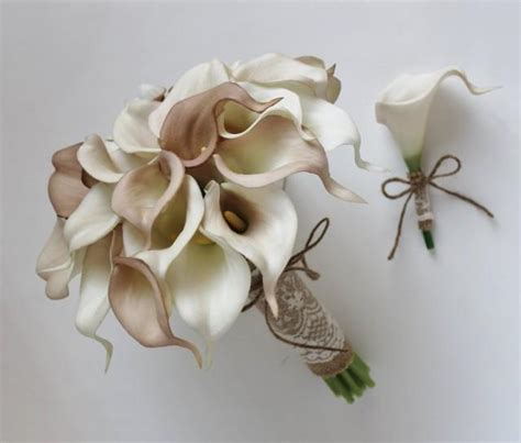 Wedding Bouquet With Calla Lilies by Wedding Bouquet Bridal Bouquet Ivory Beige Calla
