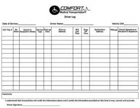 Invoice Log Template Invoice Comfort Medical Transportation Driver Log Form