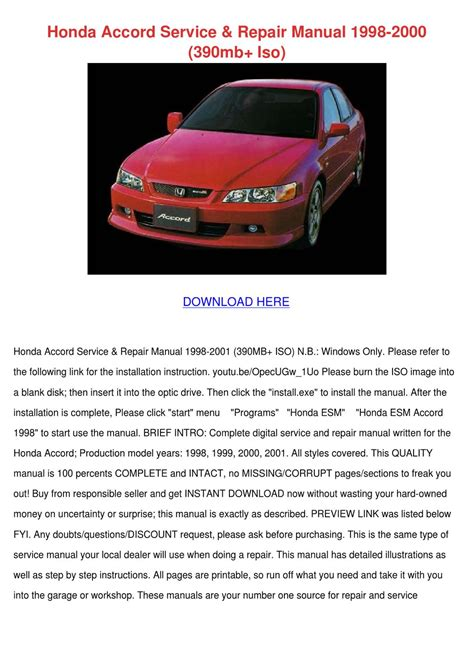 honda accord service repair manual 1998 2000 by alesia solkowitz issuu