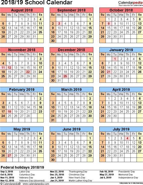 awesome printable school year calendar