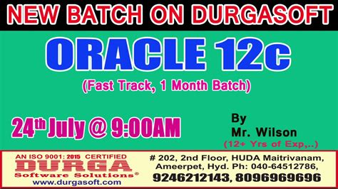 oracle tutorial by durgasoft oracle 12c by mr wilson on 24th july 9 00am at