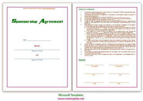 agreements business agreements sponsorship agreement
