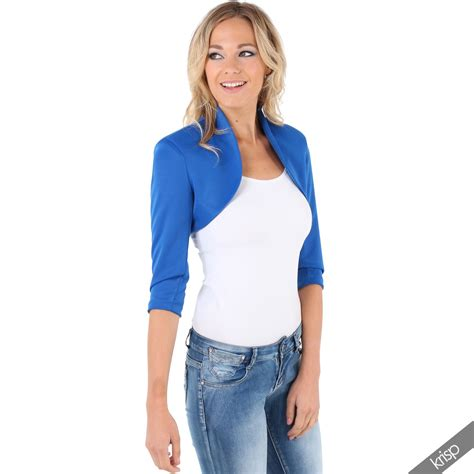 Blouse Bolero 2 In 1 4 womens tailored shrug 3 4 sleeve cropped bolero top