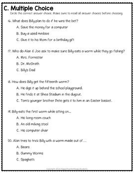 How to Eat Fried Worms Test: Final Book Quiz with Answer