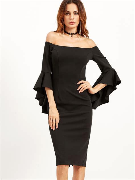 Dress Se bell sleeve bardot pencil dress shein sheinside