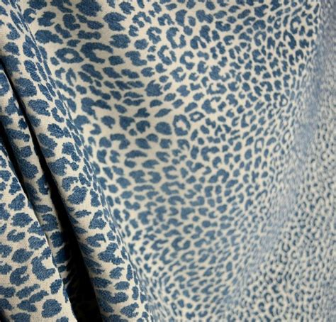 Animal Upholstery Fabric by M9818 Delft Chenille Animal Print Blue Upholstery Fabric