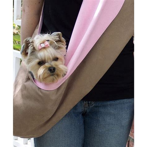 puppy carrier sling susan lanci fawn and pink luxe suede sling designer carriers at glamourmutt