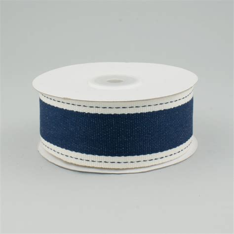 Denim Ribbon 1 5 quot twill edge denim ribbon navy ivory 10 yards