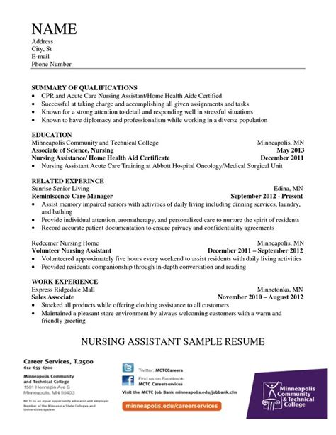 Nursing Assistant Resume In Hospital 286 Best Images About Resume On Entry Level