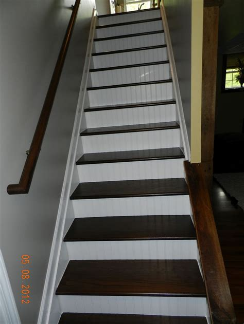 paint stair risers accent color the finished staircase