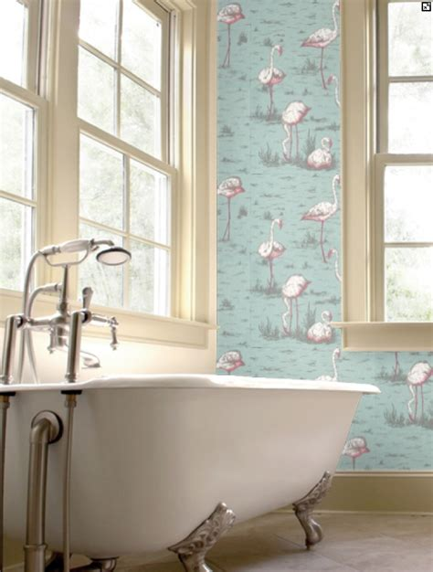 flamingos in bathroom flamingo wallpaper in the bathroom www cole and son com