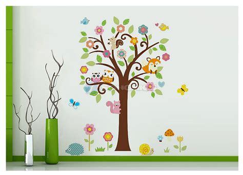 Wandtattoo Kinderzimmer Baum by Wandtattoo Waldtiere Eule Baum F 252 R Kinderzimmer