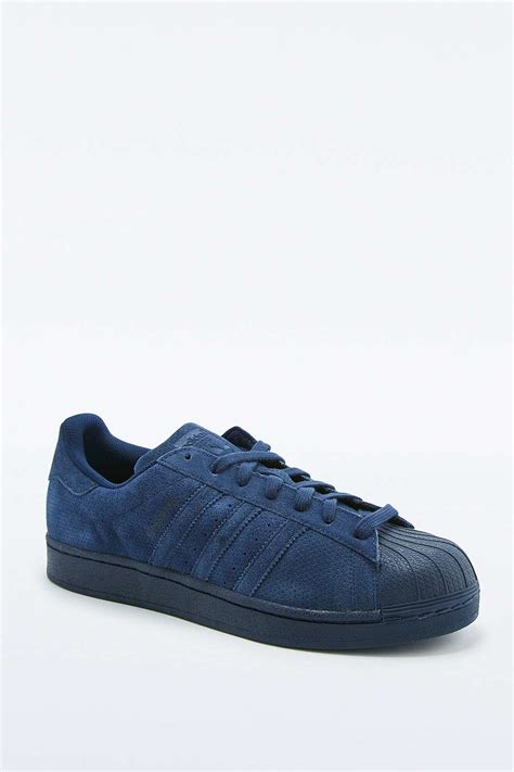 adidas originals superstar monotone navy suede trainers