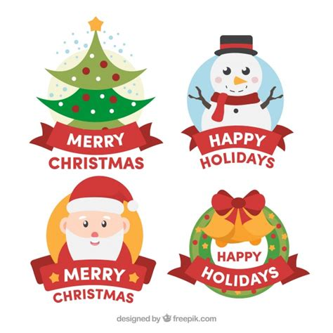 colourful badges  merry christmas  happy holidays vector