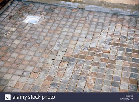 Non slip tiles used for the flooring in a wet room (shower