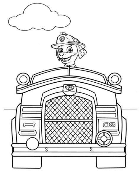 paw patrol vehicles coloring pages marshall vehicle picture to color