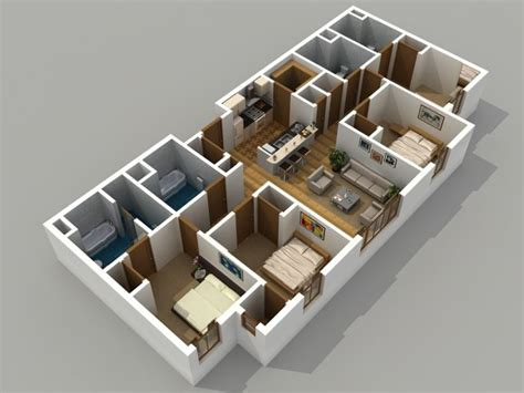 4 bedroom 4 bath 3d floor plan image 5 for the 4 bedroom 4 bathroom floor plan of property