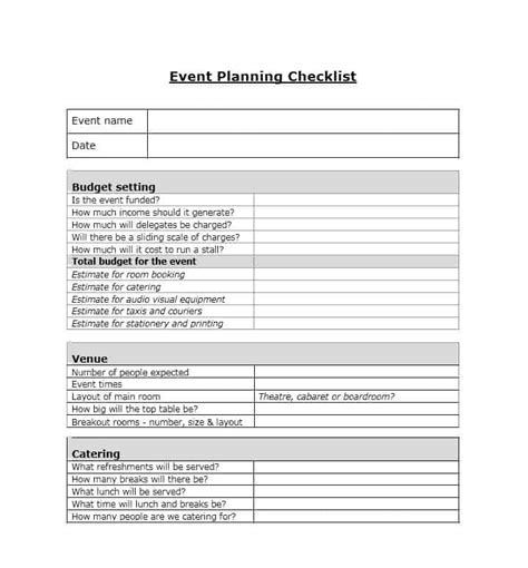 50 Professional Event Planning Checklist Templates ?