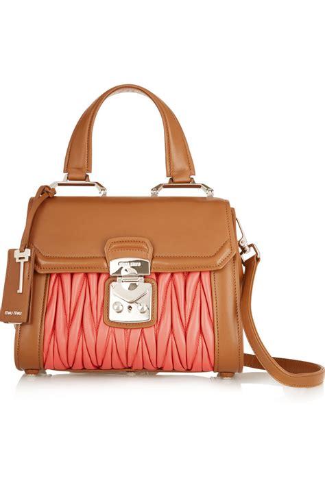 Miu Miu Shoulder Bag by Lyst Miu Miu Two Tone Matelass 233 Leather Shoulder Bag In