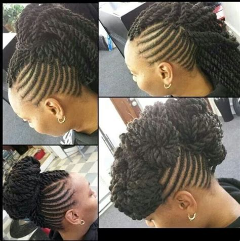 mohawk with senegalese rope twist care for relaxed hair pinterest marley twist mohawk hair pinterest follow me posts