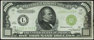 united states 1000 dollar federal reserve note series 1934