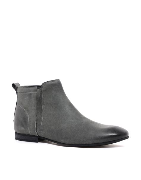 grey chelsea boots mens asos chelsea boots in leather in gray for grey lyst