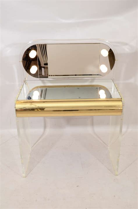 acrylic vanity bench lucite vanity table at 1stdibs