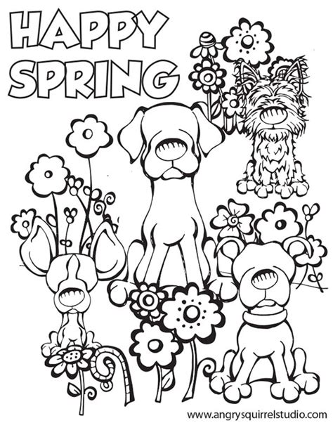 spring coloring sheets happy spring angry squirrel studio