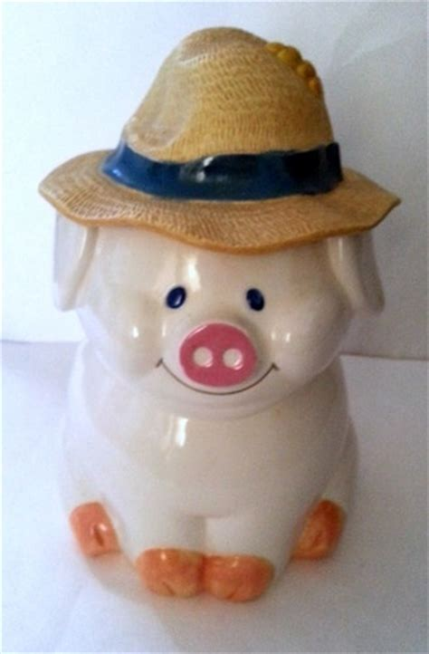 pin by gloria emmons on cookie jars canisters storage cookie jar pig with straw hat for lid treasure craft usa
